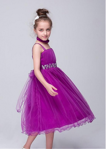 Lovely Spaghetti Straps Neckline A-Line Flower Girl Dresses With Beadings