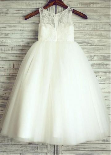 Fabulous Lace & Tulle Jewel Neckline Floor-length Ball Gown Flower Girl Dresses