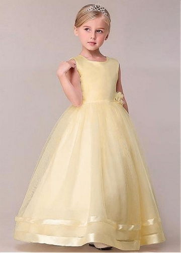 Gorgeous Tulle & Satin Jewel Neckline Floor-length Ball Gown Flower Girl Dresses With Handmade Flower