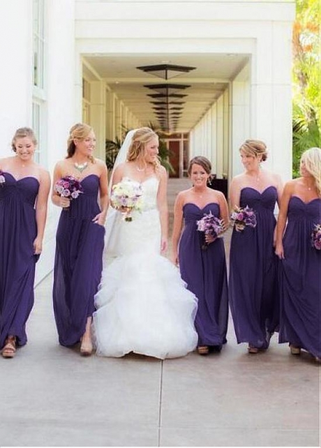 Sweet Chiffon Sweetheart Neckline Full-length A-line Bridesmaid Dresses