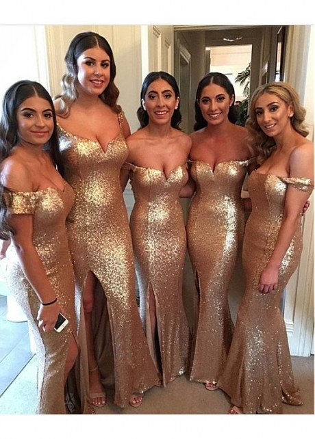Alluring Sequin Lace Off-the-shoulder Neckline Full-length Mermaid Bridesmaid Dresses