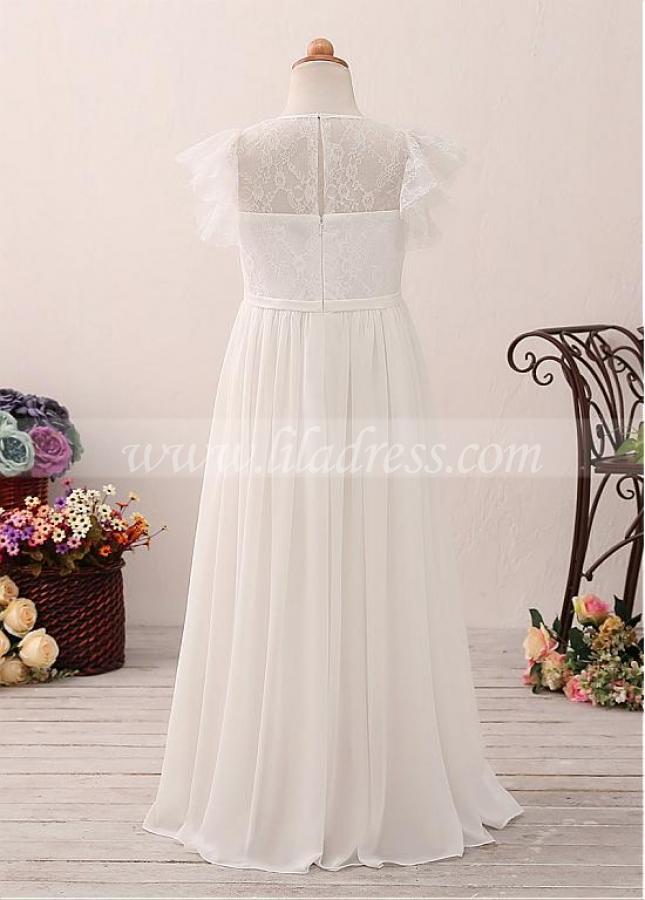 Exquisite Chiffon Jewel Neckline A-line Flower Girl Dress