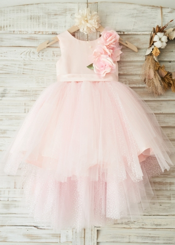 Elegant Satin & Tulle Scoop Neckline Hi-lo Length Ball Gown Flower Girl Dresses With 3D Flowers