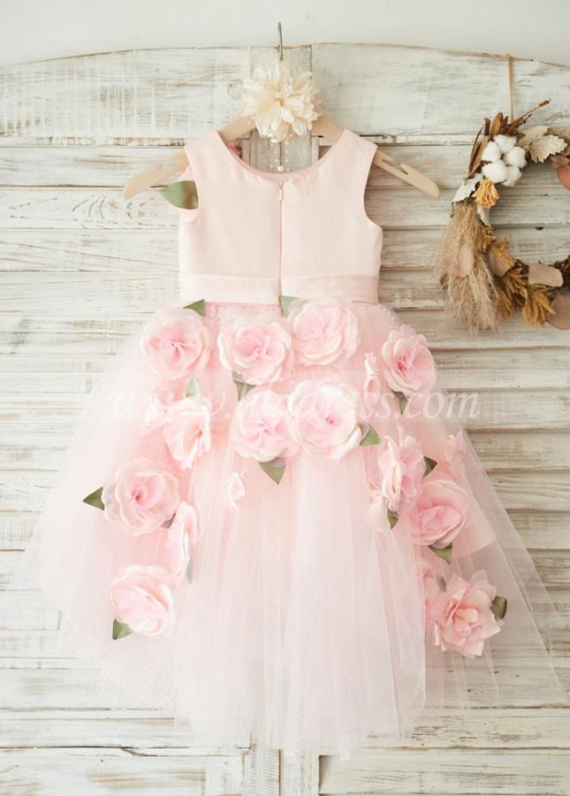 Elegant Satin & Tulle Scoop Neckline Hi-lo Length Ball Gown Flower Girl Dresses With 3D Flowers