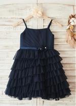 Alluring Tulle Spaghetti Straps Neckline Knee-length Ball Gown Flower Girl Dresses With Handmade Flowers & Pearls