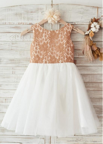 Outstanding Lace & Tulle Scoop Neckline Ball Gown Flower Girl Dresses With Bowkot