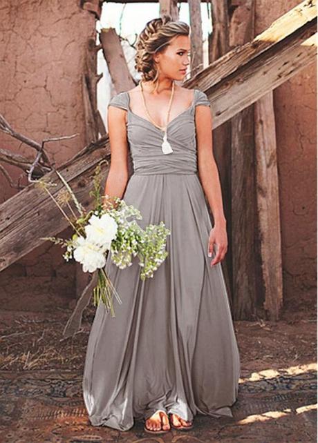 Elegant Chiffon V-neck Neckline Full-length A-line Bridesmaid Dresses With Belt