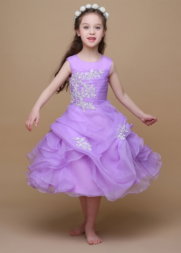 Lovely Organza & Satin Jewel Neckline Ball Gown Flower Girl Dresses With Beaded Lace Appliques