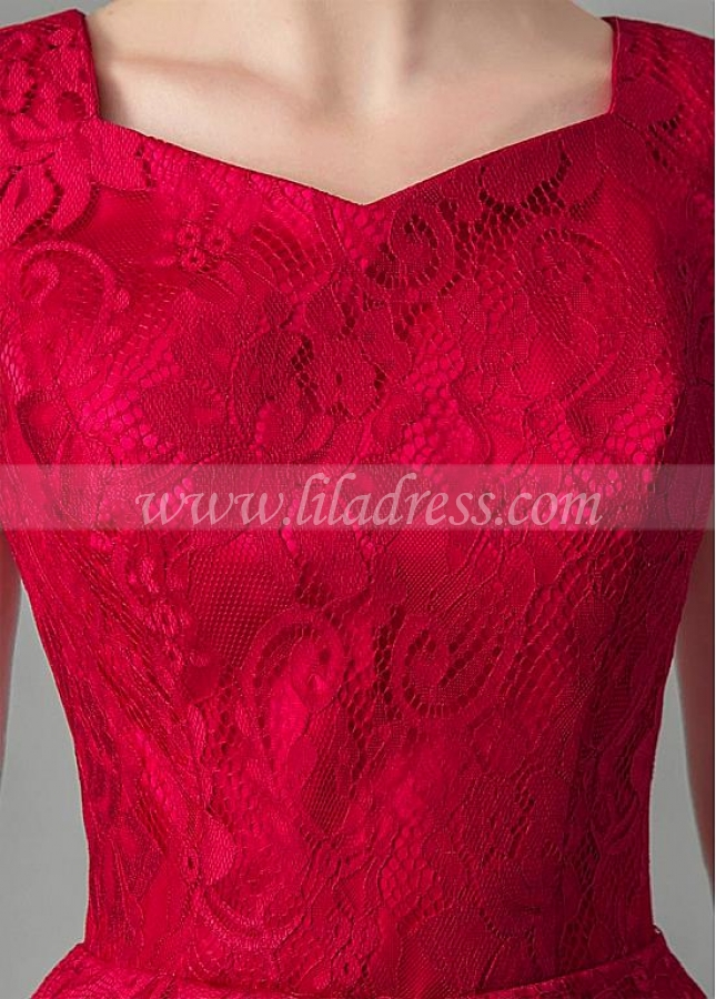 Alluring Lace V-neck Neckline A-line Homecoming / Short Bridesmaid Dresses