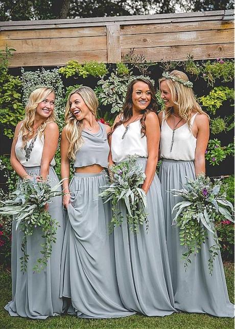 Hot Sale Chiffon V-neck Neckline Two-piece A-line Bridesmaid Dresses