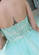 Unique Tulle Sweetheart Neckline Short Length Homecoming / Sweet 16 Dresses With Beaded Lace Appliques