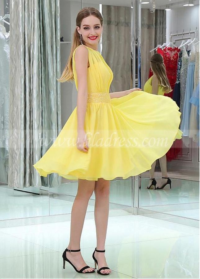 Yellow Chic Chiffon Jewel Belt Short Length A-line Homecoming / Bridesmaid Dresses