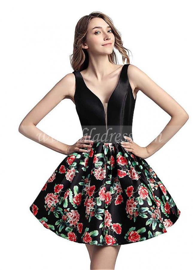 Sweet Satin V-neck Neckline Short Length A-line Print Homecoming Dress