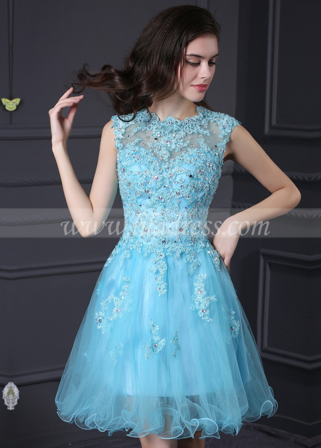 Exquisite Tulle & Stretch Satin Blue High Neck A-Line Homecoming / Sweet 16 Dresses