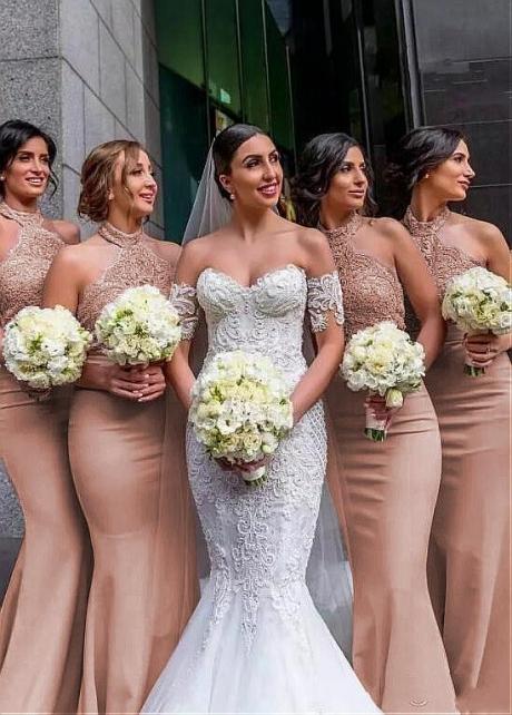 Outstanding Halter Neckline Full-length Mermaid Fitted Bridesmaid Dresses