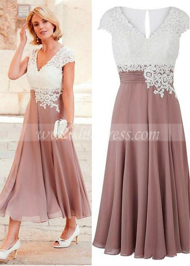 Wonderful Chiffon V-neck Neckline Tea-length A-line Mother Of The Bride Dress With Cap Sleeves