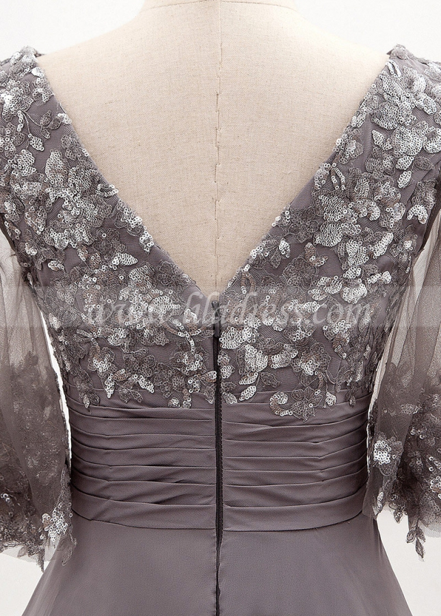 Wonderful Chiffon Bateau Neckline A-line Mother Of The Bride Dress With Sequin Lace Appliques