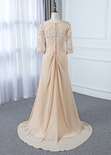 Delicate Tulle & Chiffon V-neck Neckline Sheath/Column Mother Of The Bride Dress With Beaded Lace Appliques
