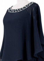 Fascinating Chiffon Scoop Neckline Full-length Sheath/Column Mother Of The Bride Dresses With Beadings