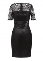 Alluring Lace & Satin Scoop Neckline Short Sleeves Sheath/Column Mother Of The Bride Dress