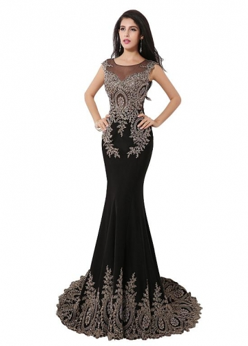 Marvelous Scoop Neckline Mermaid Evening/Mother Of The Bride Dresses With Lace Appliques & Rhinestones
