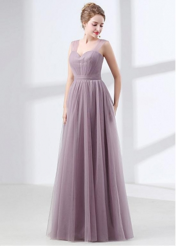 Hot Sale Tulle Sweetheart Neckline A-line Bridesmaid Dress With Pleats