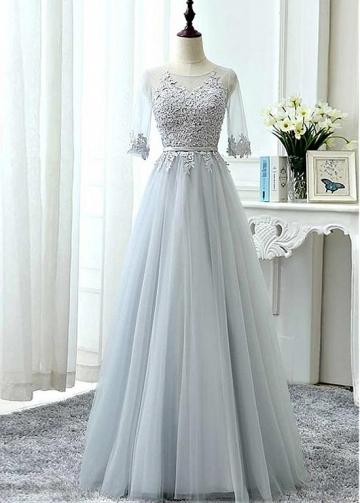 Modest Tulle Jewel Neckline A-line Bridesmaid Dress With Lace Appliques & Sash