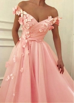 Romantic Tulle Off-the-shoulder Neckline Floor-length A-line Prom Dresses With Beadings & Handmade Flowers & Bowknot
