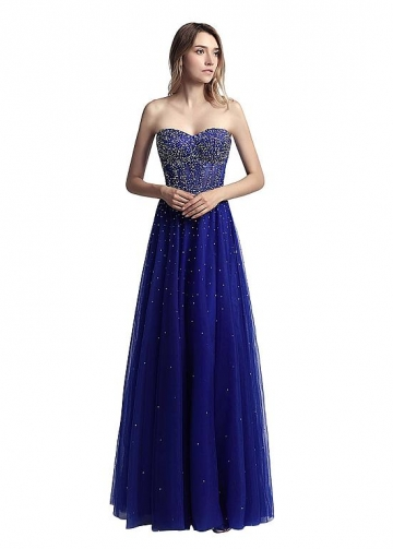 Popular Tulle Sweetheart Neckline Full length A-line Prom Dresses With Hot Fix Rhinestones