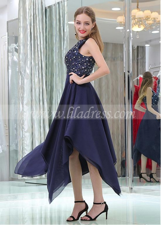 Famous Sequin Lace & Chiffon Jewel Neckline Hi-lo Length A-line Prom Dresses With Beadings