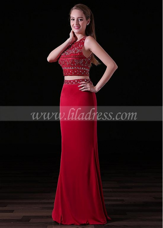 Eye-catching Spandex & Tulle Jewel Neckline Floor-length Two-piece Sheath/Column Prom Dresses With Beadings