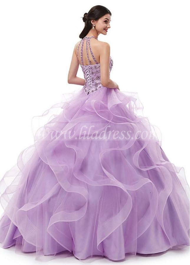 Brilliant Tulle Halter Neckline A-line Quincenera Dresses With Beadings