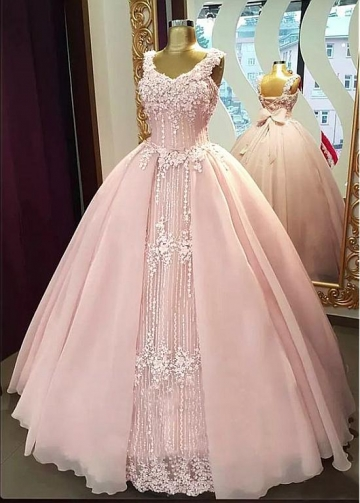 Fabulous Tulle & Organza V-neck Neckline Floor-length Ball Gown Quinceanera Dresses With Beaded Lace Appliques & Handmade Flowers & Bowknot