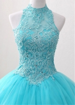 Splendid Tulle & Satin High Collar Floor-length Ball Gown Quinceanera Dresses With Beaded Lace Appliques