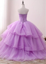 Brilliant Organza & Satin Sweetheart Neckline Floor-length Ball Gown Quinceanera Dresses With Beadings