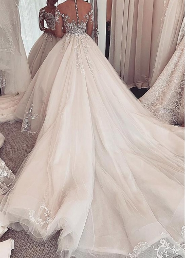 Chic Tulle Jewel Neckline Ball Gown Wedding Dresses With Lace Appliques & Beadings