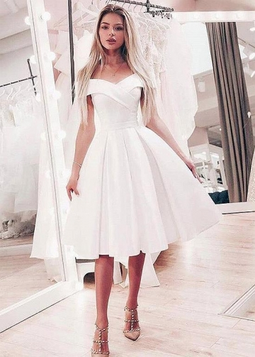 Smart Satin Off-the-shoulder Neckline Ball Gown Wedding Dresses