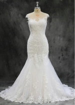 Romantic Tulle Jewel Neckline 2 In 1 Wedding Dresses With Lace Appliques & Bowknot & Detachable Skirt