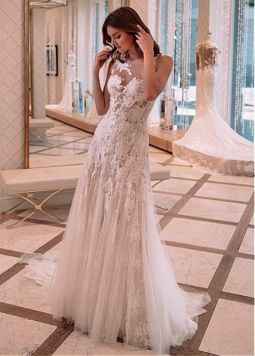 Charming Tulle & Lace Jewel Neckline See-through A-line Wedding Dress With Lace Appliques