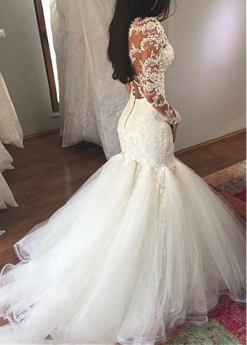 Attractive Tulle & Organza Sheer Scoop Neckline Mermaid Wedding Dress With Lace Appliques & Beadings