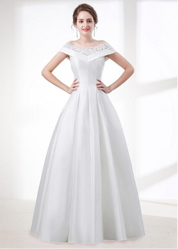Beautiful Satin Off-the-shoulder Neckline Short Sleeves A-line Wedding Dress With Lace Appliques