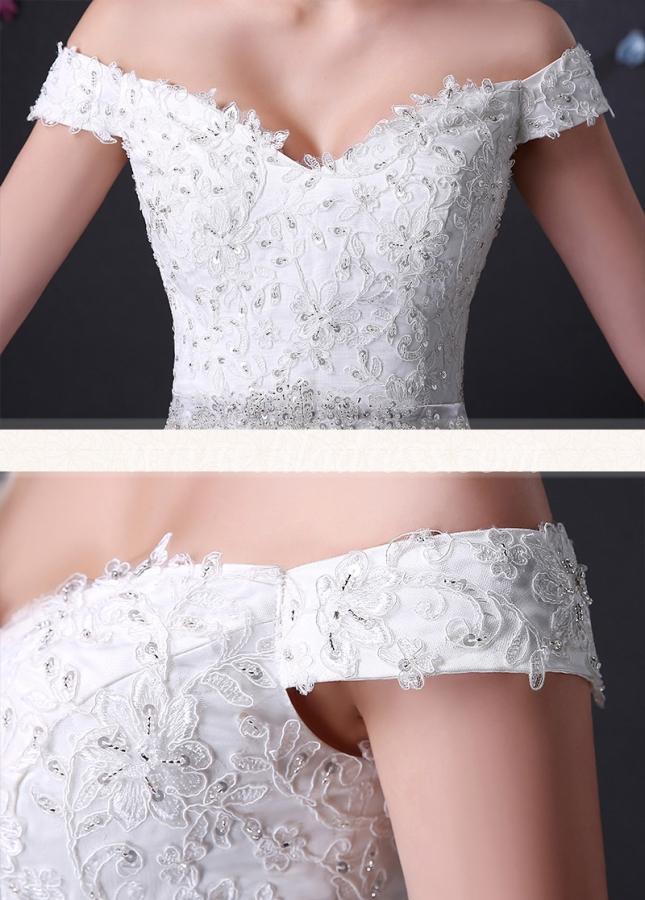Elegant Tulle Off-the-shoulder Neckline Mermaid Wedding Dress