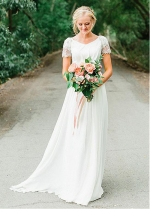 Graceful Tulle & Chiffon V-neck Neckline A-line Wedding Dress With Beadings