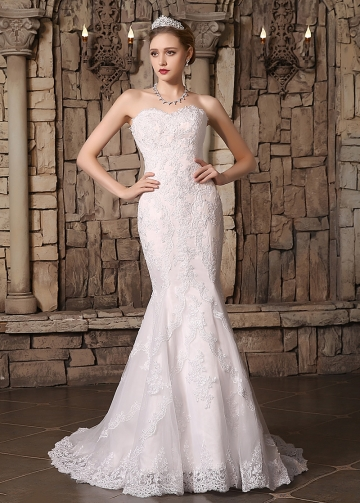 Romantic Tulle Sweetheart Neckline Lace Appliques Mermaid Wedding Dresses