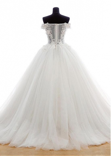 Marvelous Tulle Off-the-Shoulder Neckline Ball Gown Wedding Dress with Venice lace