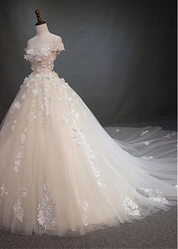 Amazing Tulle Off-the-shoulder Neckline See-through Bodice Ball Gown Wedding Dress With Beaded Lace Appliques & 3D Flowers