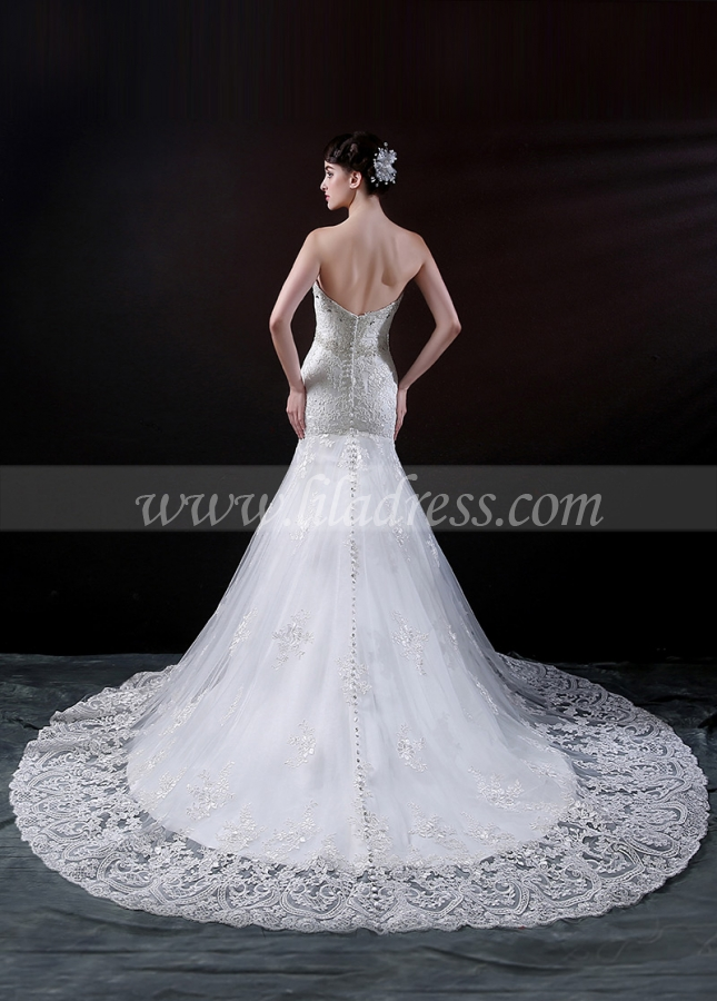 Elegant Tulle Mermaid Wedding Dress With Lace Appliques & Beads