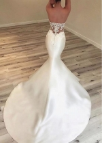 Delicate Tulle & Satin Sweetheart Neckline Mermaid Wedding Dresses With Lace Appliques & Beadings