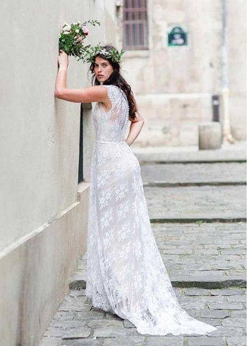Brilliant Lace Jewel Neckline Sheath/Column Wedding Dresses With Belt