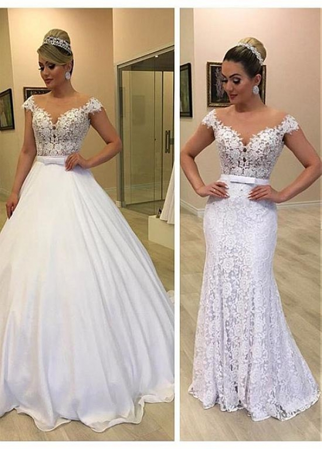 Modern Tulle & Lace Jewel Neckline 2In 1 Wedding Dresses With Detachable Skirt & Bowknot & Beadings